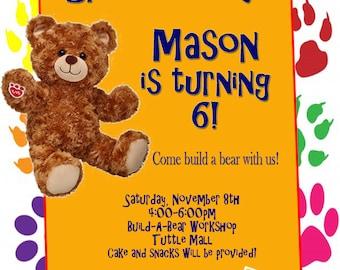 Personalized Customized Multicolor Build A Bear Birthday Invitation