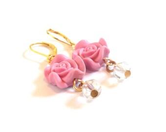 Pink Rose Earrings ( gold earrings rose earrings pastel earrings flower earrings polymer clay jewelry handmade rose dangle earrings )