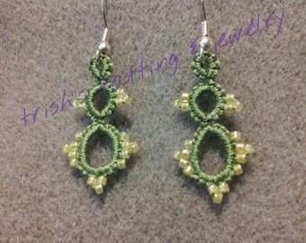 Needle Tatted Earrings Green Dangle