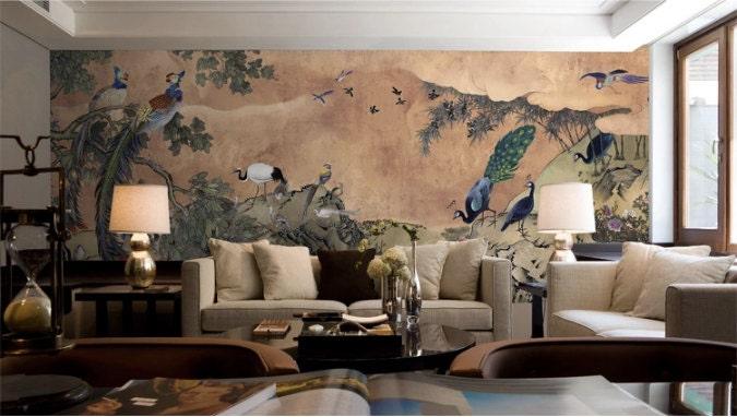 oriental peacock & phoenix wallpaper asian vintage retro