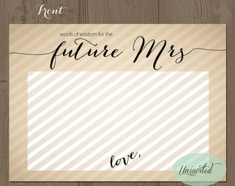 Gold Printable Advice for the Bride Striped Classy B - Instant download,words of wisdom,bridal shower,advice for the future mrs,advice cards