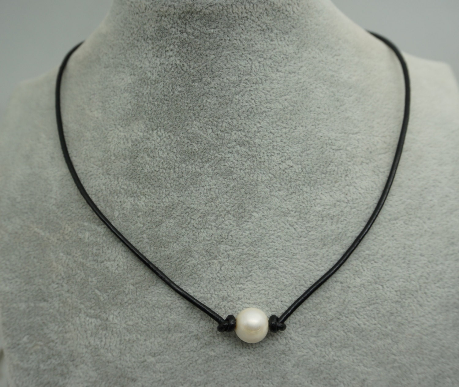 Leather Pearl Choker Pearl Leather Necklace By WenPearls