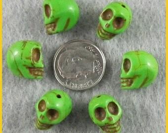 12mm - Lime Green Magnesite Skull Beads - Lot of 20