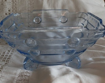 Art Deco Blue Glass Serving Bowl