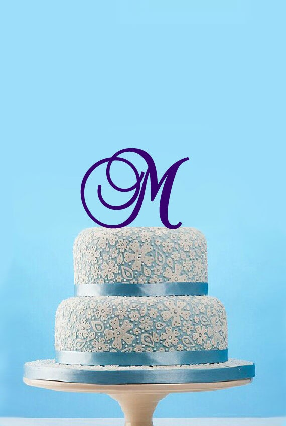 items similar to monogram initial cake topper