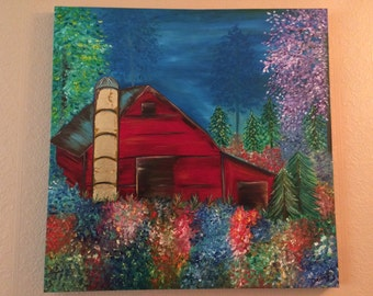 """Large Original Red Barn oil painting with golf leafing, 36x36 stretched canvas, 1.5"""" deep edge sides. By Dawn Laughlin, signed."""