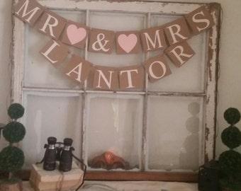 Mr Mrs Banner, Rustic Wedding Decor, Mr Mrs Sign, Mr Mrs Wedding Banner, Blush Wedding Decor, Pink Wedding Decoration, Shabby Style Wedding