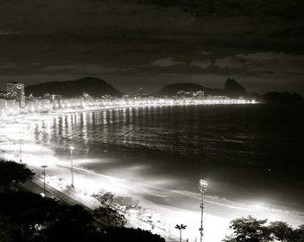 Rio de Janeiro Photography, Brazil Copacabana Photograph, Black and White Wall Art