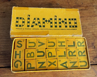 Diamino, wood letter game. French vintage