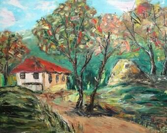 Vintage oil painting forest landscape house