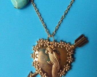 Two Broke Girls inspired  Necklace Max's Parrot bird caroline channing
