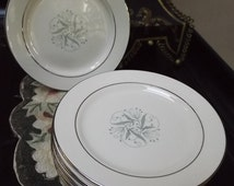1950 Homer Laughlin China Celeste Dinner Plate, Mid Century Vintage Dinnerware, Aqua Bead Flowers & Platinum Trim