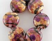 Jewel Thief SRA Lampwork Handmade Artisan Glass Lentil Beads 18mm Made to Order Set of 6