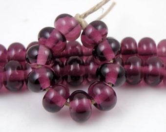 042 Transparent Medium Amethyst Made to Order Sra Lampwork Handmade Artisan Glass Spacer Beads Set of 10 5x9mm