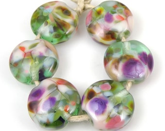 Orchid Garden SRA Lampwork Handmade Artisan Glass Lentil Beads 18mm Made to Order Set of 6
