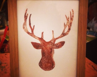 salt reindeer ink print