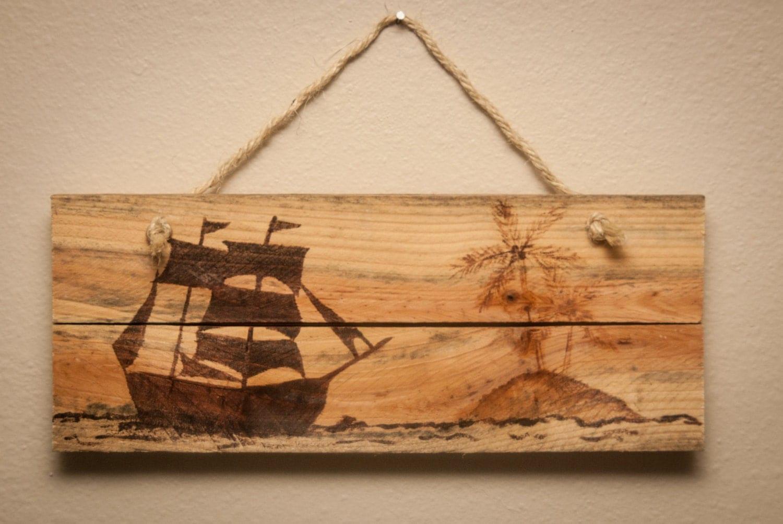 Wooden Beach Wall Decor : Pirate ship sign wall art wooden beach by