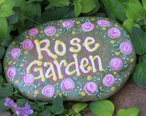 Painted Rose Garden Rock, Plant marker, Garden decoration, Flower Painting