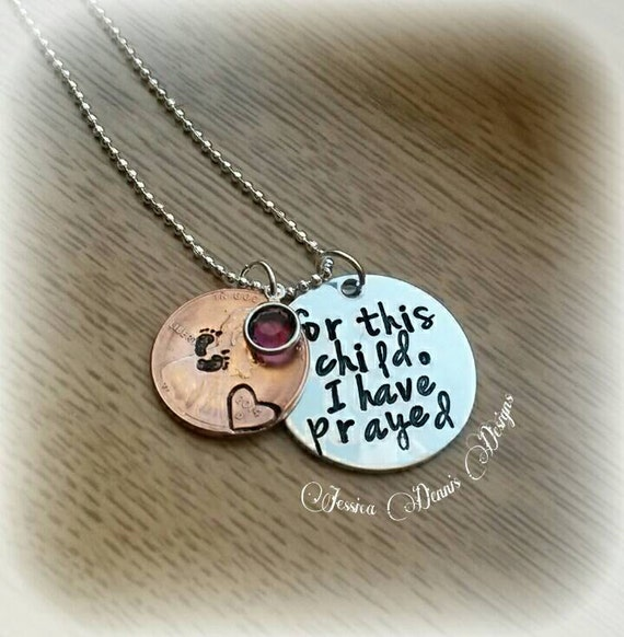 For This Child I Have Prayed Hand Stamped Necklace