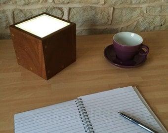 Small Table Lamp Floor Desk Light Solid Wood Box Cube Glass Up Lighter Floor Modern Subtle Minimalist Bedroom