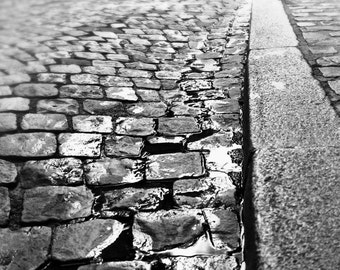 France Photography Print, Paris Photo, Black and White, Wall Art Print, Cobblestone Street, Travel Picture, Paris Photograph, French Decor,