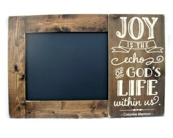 Chalkboard Large Rustic Wood Framed Christian Gift Wall Decor - Joy is the Echo of God's Life Within Us (#1281-CB)