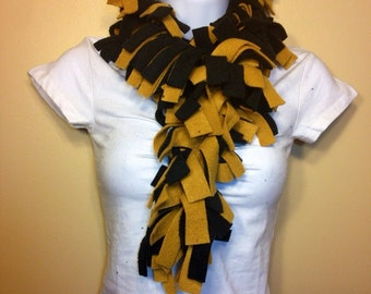 Black and Gold Saints colors finge fleece scarf