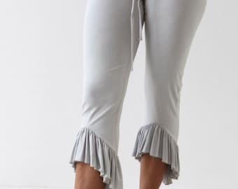 CAPRI LEGGINGS with ruffles - ruffle leggings - yoga to dance leggings - women's capris - ruffle bottom leggings - dance pants -