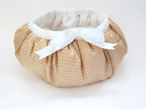 gathered fabric storage basket, round quilted bowl for nic naks, desk tidy,  beige polka dot fabric with decorative bow