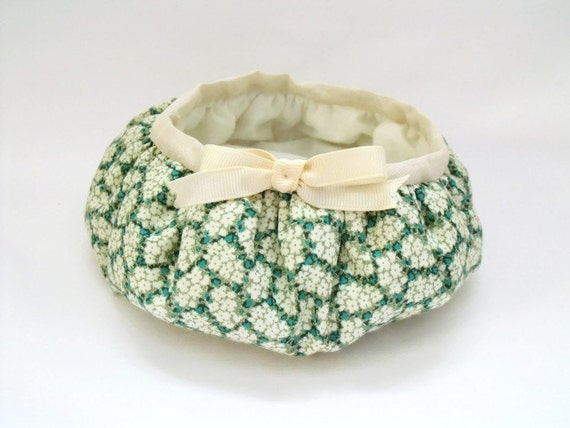 quilted fabric storage bowl, gathered basket for nic naks,  bits and bobs storage,  dressing table tidy,  green floral fabric