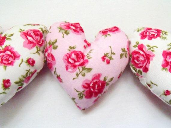 "decorative fabric hanging heart garland, floral print decorative plush hearts 7.5"", hanging decoration, wall decor"