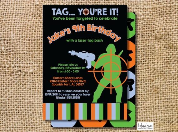Laser Tag Invitation Digital Printable Diy By