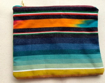 Fully Lined Zippered Pouch in IKAT