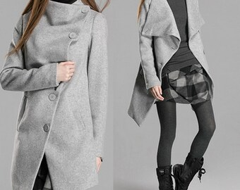 Buttoned quilted cashmere coat Women long Jacket (C1060)