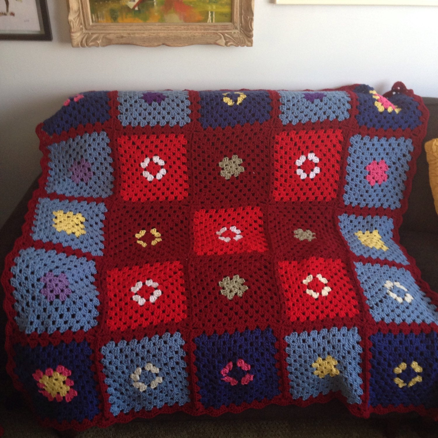 Vintage Granny Square Afghan Knit Blanket Throw Lap Size