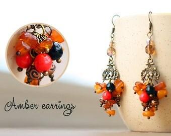 """Amber earrings """"Ginger"""""""