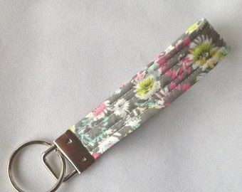 Quilted Fabric Key Fob Keychain Gray with Pink Yellow and White Flowers