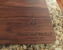 Personalized cutting board or serving board. Great wedding gift, couples gift or anniversary gift. Beautiful wooden kitchen decor item.