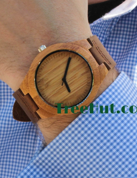 treehut engraved mens wood wooden watches bamboo watch like this item