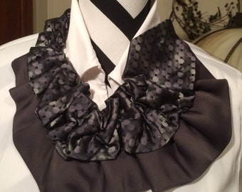 Necktie necklace.Doubled ruffled tie. Statement necklace.