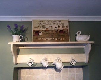 Brandnew solid pine wall rack/ wall shelf/ coat rack. Shabby chic/ country cottage style.