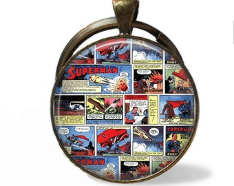 Superman Comic Book Necklace or Keychain Pendant