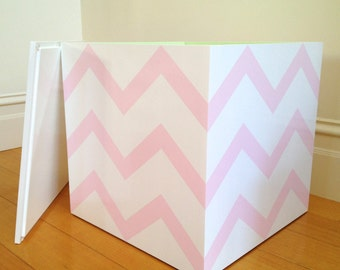 REDUCED - Toy Cube - Pink Chevron, Toy Box, Toy Storage, Girls Toy Chest, Childrens Furniture, Wooden Toy Box, Bedside Table, Storage Box