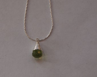 Sterling Silver Chain Necklace with Peridot Pendant