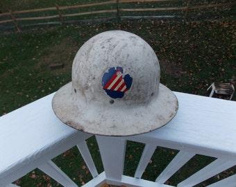 Vintage WWII Civil Defense Air Raid Warden Helmet