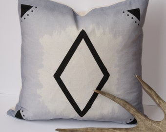 Blue Geometric Hand painted & Hand dyed Cushion Cover 40cmx40cm