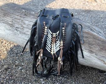 boho leather bag, black, medium ,fringed bag, leather purse, fringe leather shoulderbag