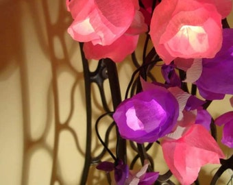String lights of 50 roses - Flower string lights - Party fairy lights - Pink Purple - Bedroom lights - Handmade fairylights - NajaKonicaSan