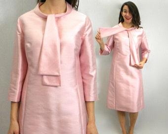 60s Pink Silk Shift Dress   Jackie O Style   Mad Men   Medium