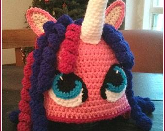 Tuque tricoté au crochet, licorne personnalisable, fabriqué sur mesure, pouliche personnalisée, bébé, enfant, adulte, fille.